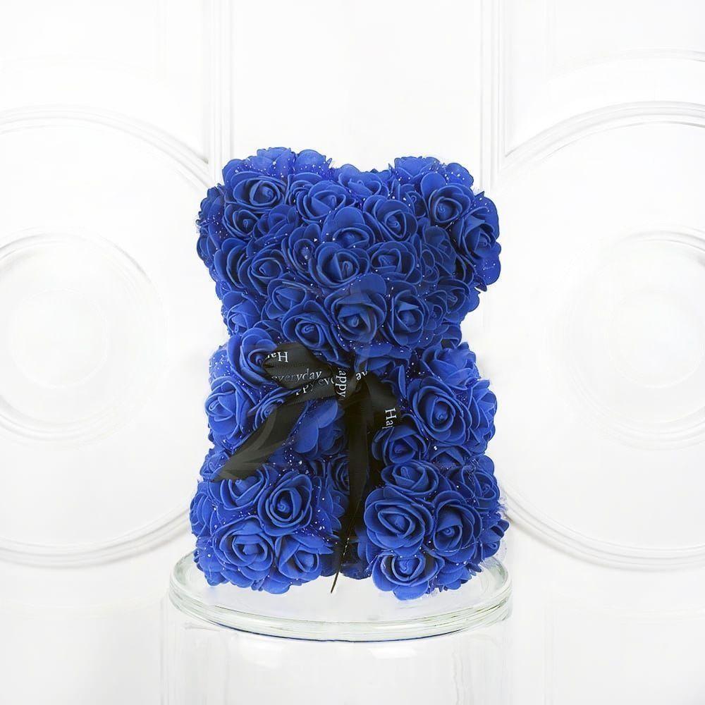 Мишка синий из фоамирановых роз маленький 25 см (с ароматом)