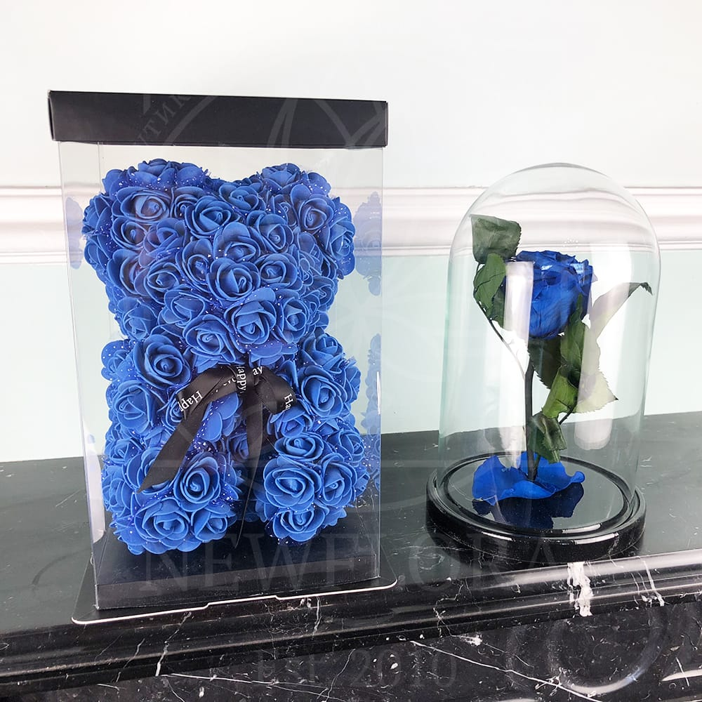 Синий набор роза в колбе + мишка из фоамирана 25 см