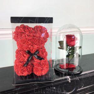 Красный набор роза в колбе + мишка из фоамирана 25 см