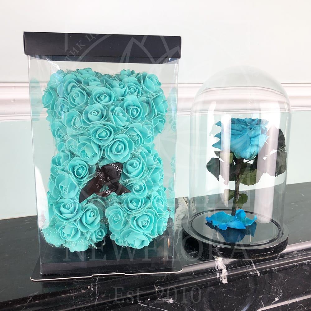 Мятный (бирюзовый) набор роза в колбе + мишка из фоамирана 25 см