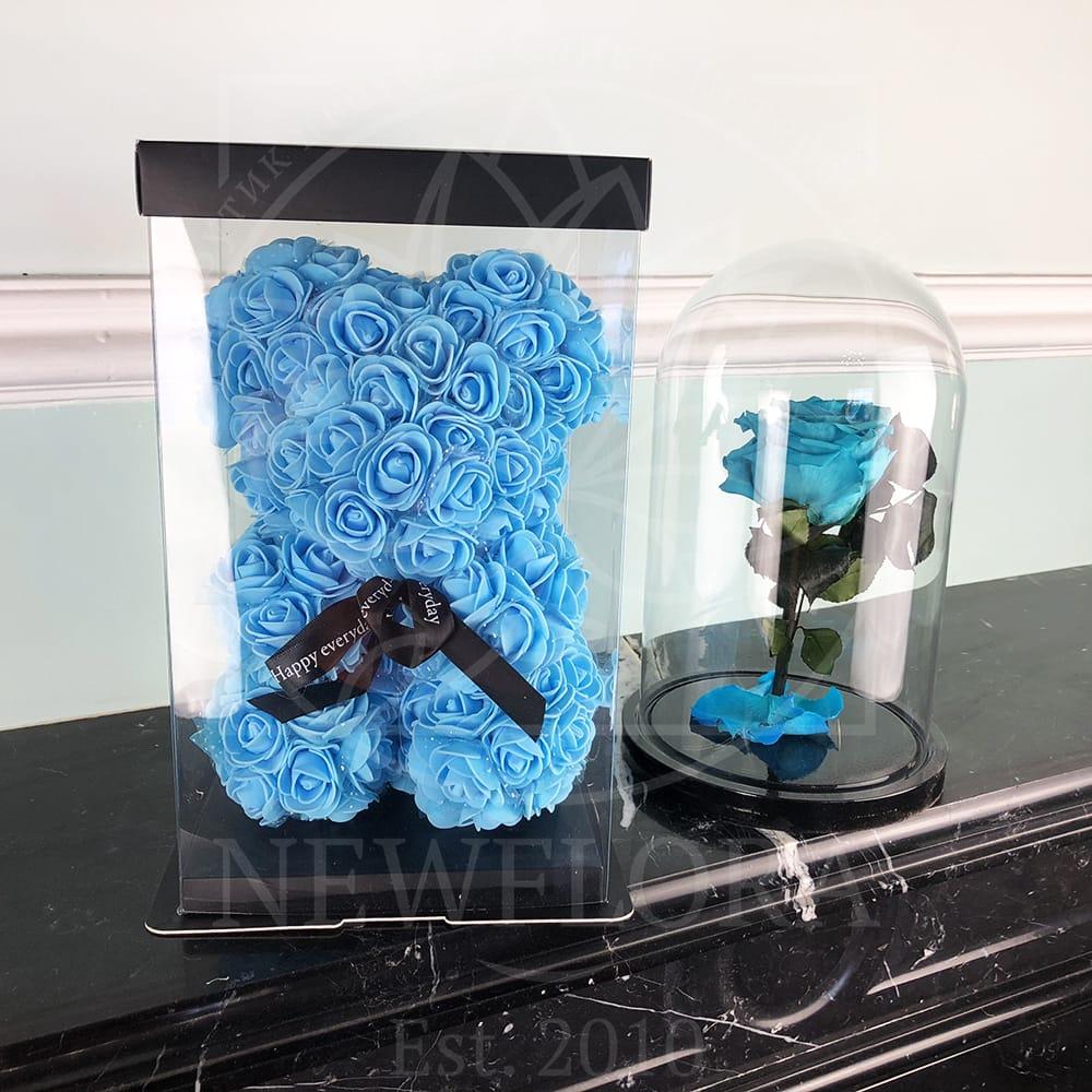 Голубой набор роза в колбе + мишка из фоамирана 25 см