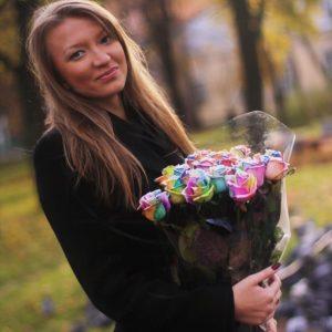 Букет 25 радужных сахарных роз