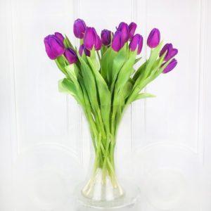 Букет 21 высокий фиолетовый тюльпан (60см)