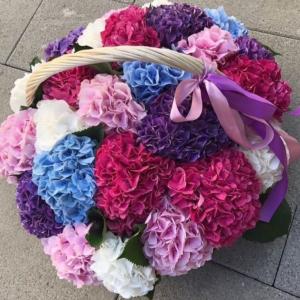 Корзина цветов 25 гортензий D22-24см