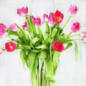 Букет 25 высоких розовых тюльпанов (75см)