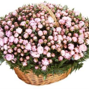 Большая корзина цветов 501 розовый пион (РФ) с папоротником