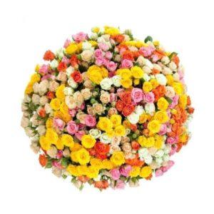 Букет 75 кустовых разноцветных роз (60-70см)
