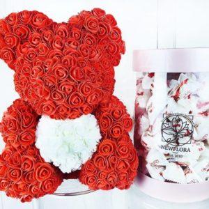 Набор raffaello 150 конфет + мишка из фоамирана с сердцем (цвет на выбор)