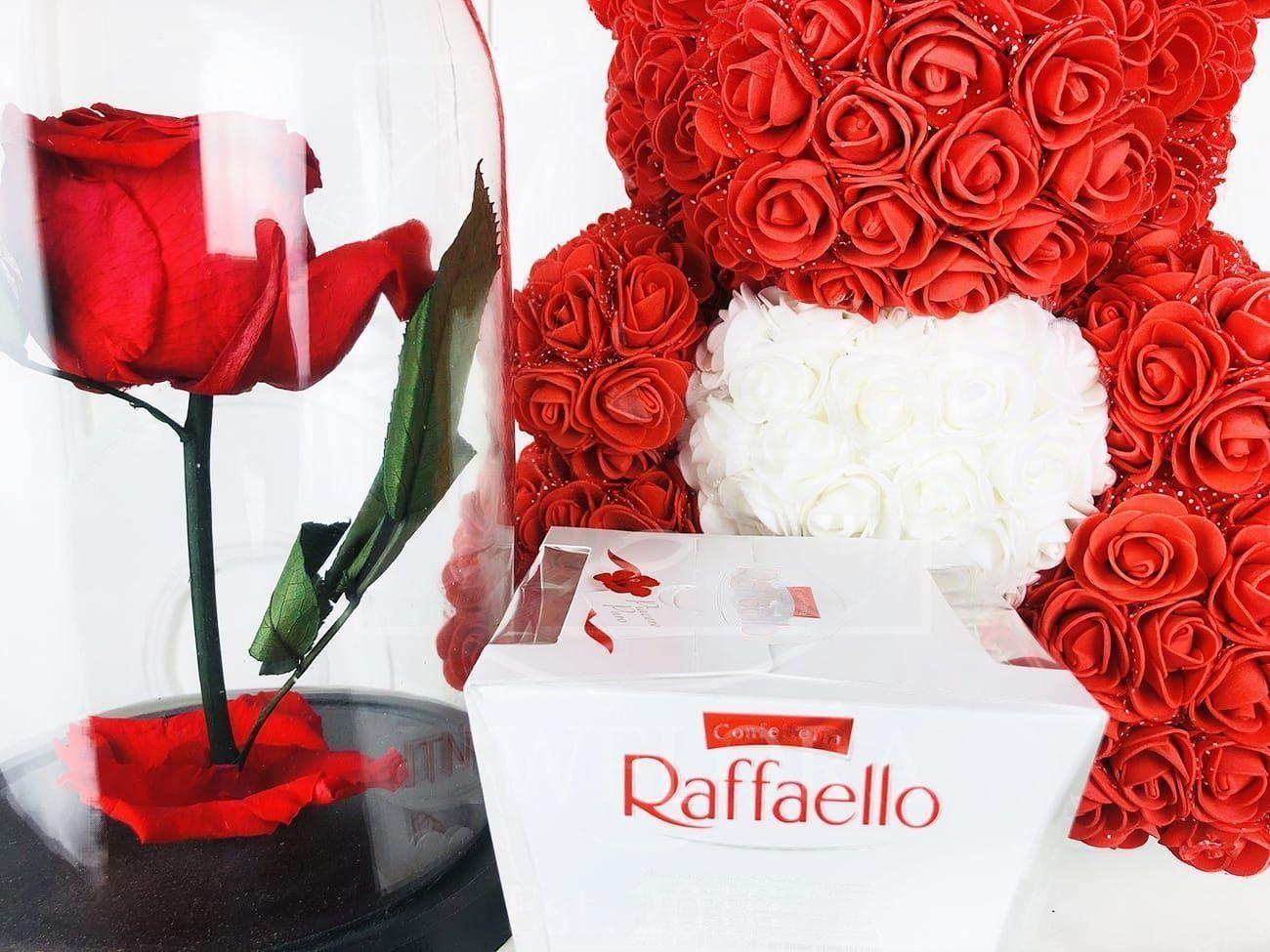 Набор raffaello + мишка из фоамирана с сердцем + роза в колбе (цвет на выбор)