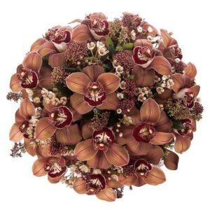 Шляпная коробка с коричневыми орхидеями (Premium)