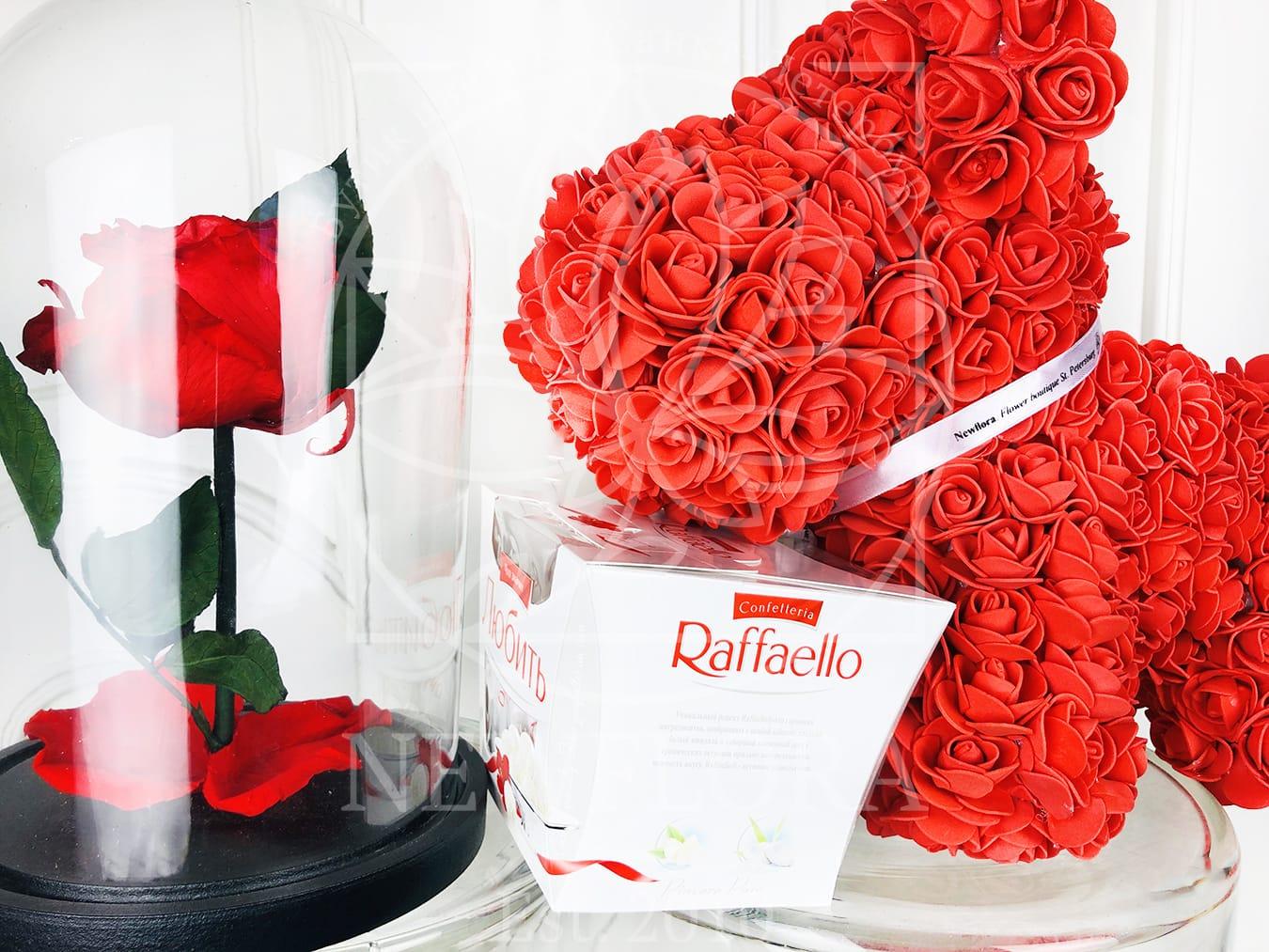 Набор raffaello + собачка из фоамирана + роза в колбе (цвет на выбор)