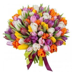 Букет 101 разноцветный тюльпан