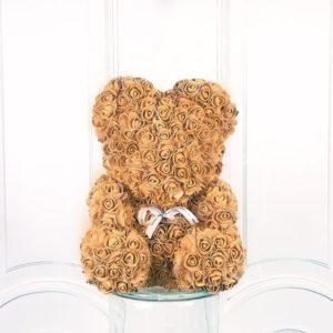 Коричневый мишка из фоамирановых роз с бантом 40 см (с ароматом)
