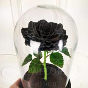 Керамическая черная роза в колбе (цвет на выбор)