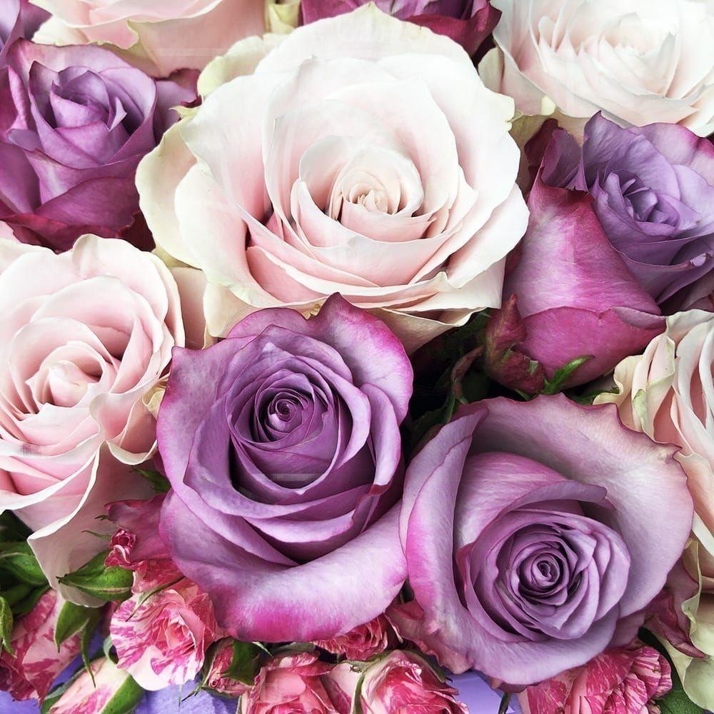Фиолетовая шляпная коробка с кустовыми и классическими розами 30×40 см