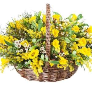 Корзина цветов с нарциссами, альстромерией и мимозой