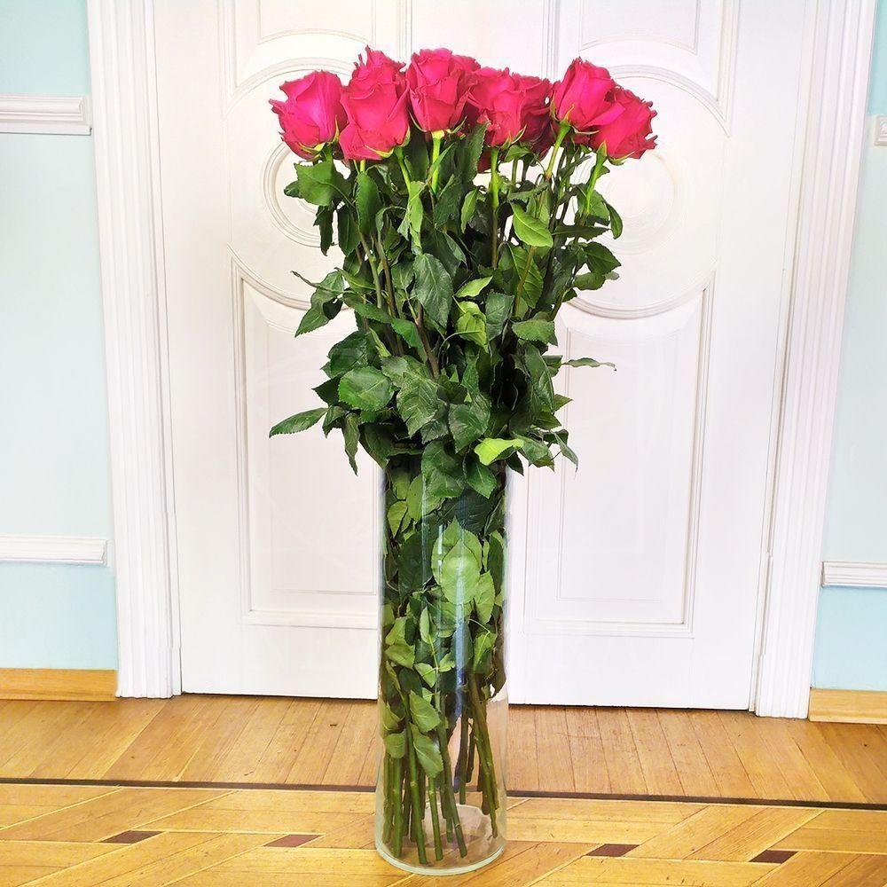 Букет 25 розовых роз высотой 110см