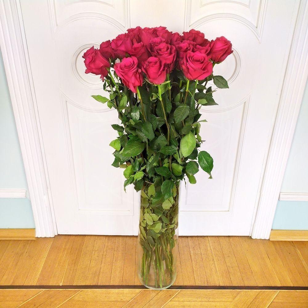 Букет 25 розовых роз высотой 120см