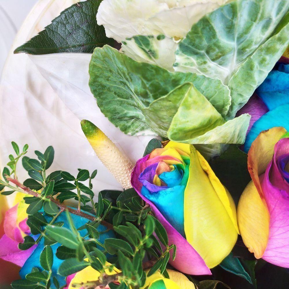 Букет 21 радужная роза с брассикой, фисташкой и белый антуриум