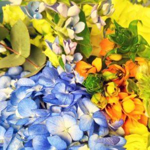Букет роз с гортензиями, оксипеталум и дельфиниум (заказчик БК Зенит)
