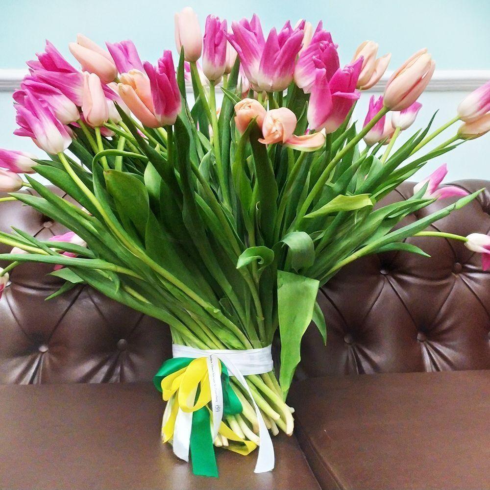 Букет 101 высокий тюльпан (60-70см)