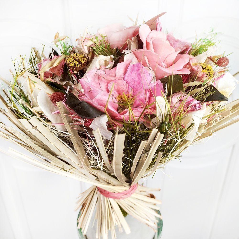 Букет сухоцветов розовый 30×25см