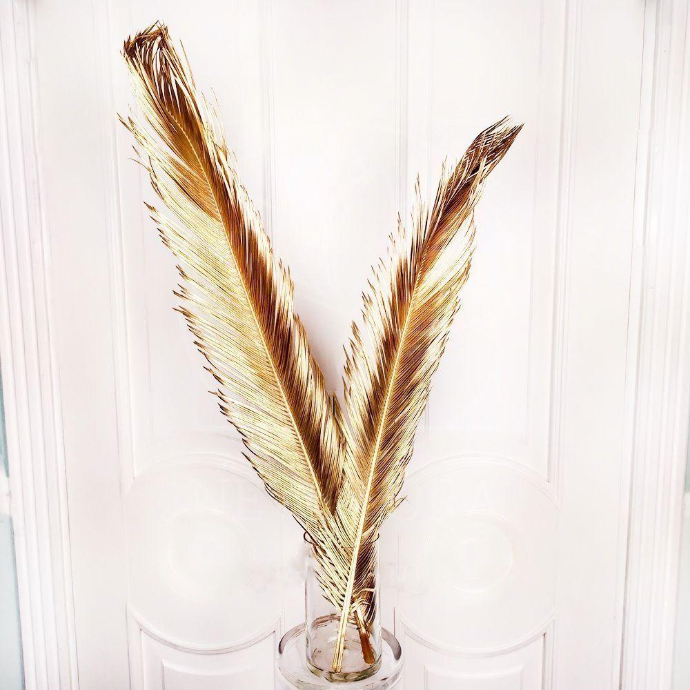 Ветка пальмы «цикас» сухая (золото)
