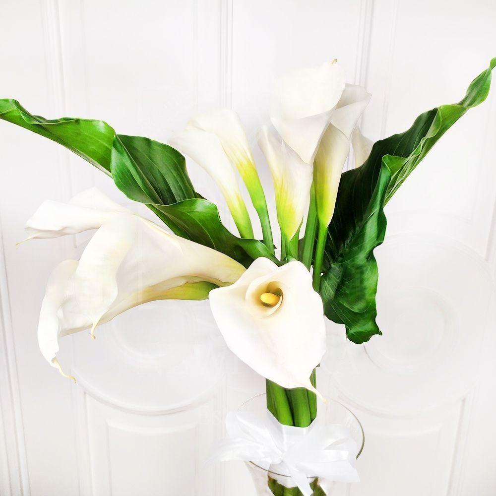 Букет 11 белых калл 90см с листьями (заказчик GalinaRogaleva.com)