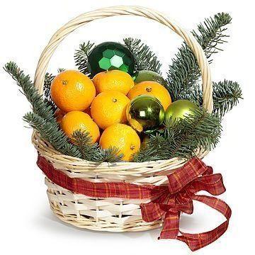 Фруктовая корзина с мандаринами на Новый Год (D20см)