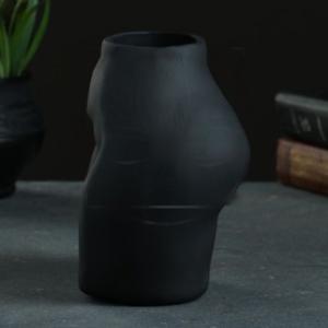 Ваза черная настольная «попа» 16х15см (керамика)