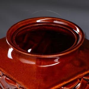 Ваза коричневая «ротанг» высота 40см (керамика)