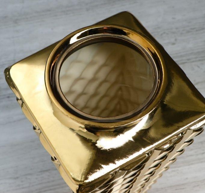 Ваза золотая «ротанг» высота 40см (керамика)