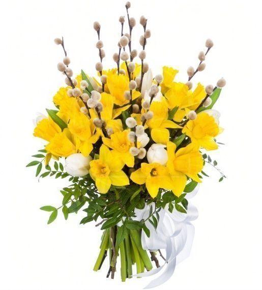 Букет 21 нарцисс с тюльпанами и вербой
