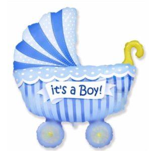 Воздушный шар «коляска» на рождение мальчика (100см)