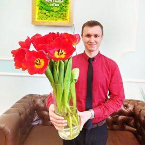 Здоровенные красные тюльпаны 65-75см (поштучно)