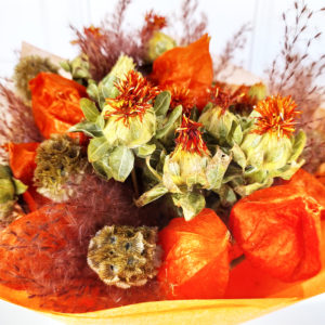 Букет сухоцветов с физалисом, скабиозой и шафраном