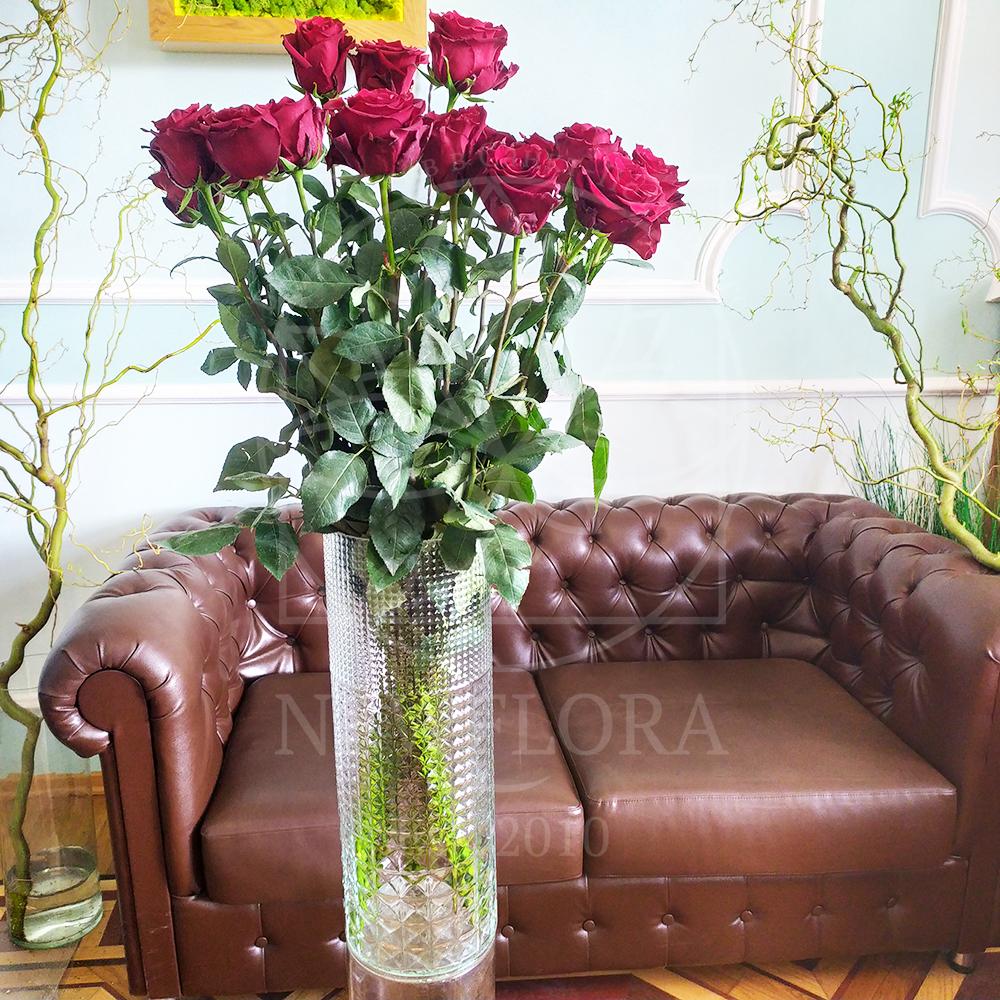 Стеклянная напольная ваза-цилиндр матовая (60×20см)