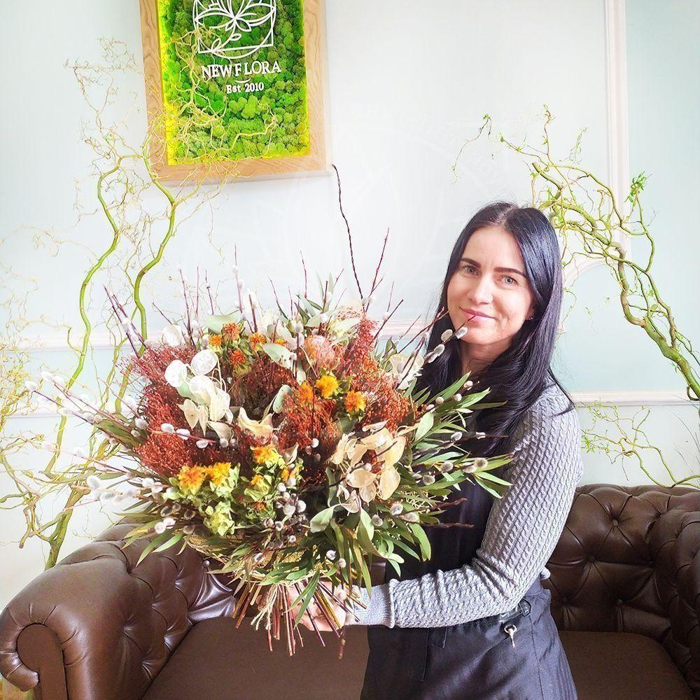 Букет сухоцветов с лунарией, диким шафраном и вербой