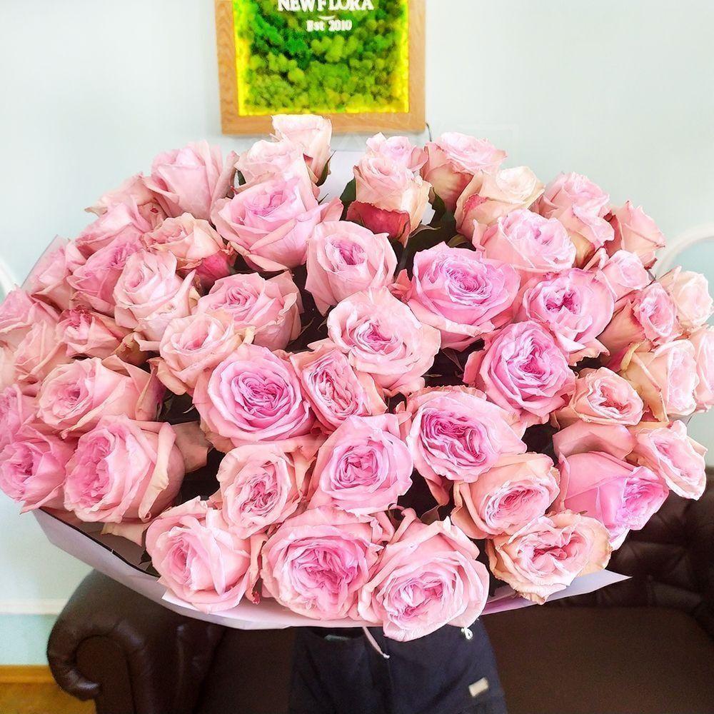 Букет 51 ароматная пионовидная роза Pink Ohara